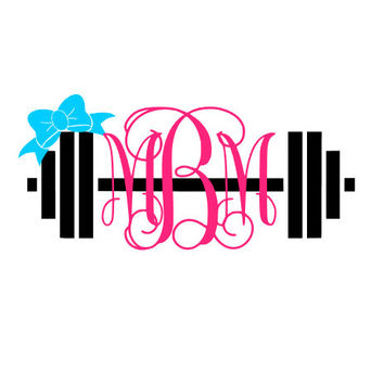Decal - Dumbbell monogram decal, Laptop decal, water bottle decal, cell phone decal, coffee cup decal, tumbler decal