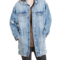 LE3NO Womens Vintage Oversized Ripped Denim Boyfriend Jacket