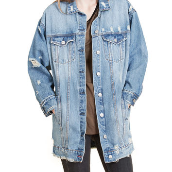 LE3NO Womens Vintage Oversized Ripped Denim Boyfriend Jacket (CLEARANCE)