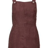 Suedette Military Playsuit - Raspberry