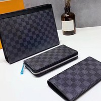 Louis vuitton sells casual ladies black plaid printed makeup bag + zipper purse + flip purse