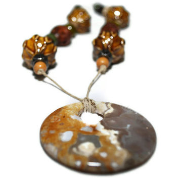Super Sale Item Earth tone Beaded Necklace with Mustard by chumaka