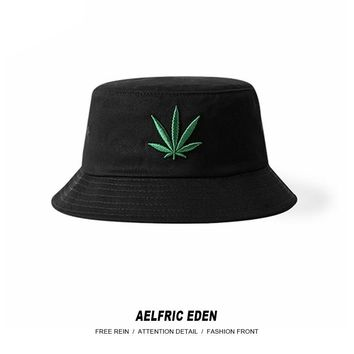 Aelfric Eden Men New Hemp Leaf Fashion Cap Hip Hop Bucket Hat Hemp Adult High Street Fishing Cap Outdoor Tide Casual Cap SNL743