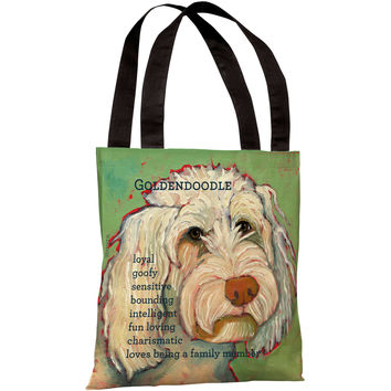 """Golden Doodle"" 18""x18"" Tote Bag by Ursula Dodge"
