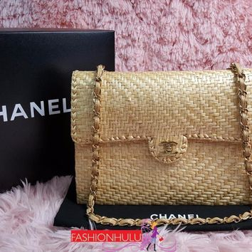 RARE Vintage Excellent Condition CHANEL Beige Wicker Straw Jumbo Flap Bag Gold