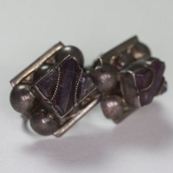 Vintage Amethyst and Silver Earrings Screw Back Mexico