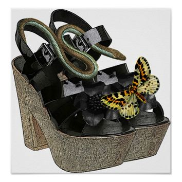Black High Heels Snake butterfly fashion Art Poster