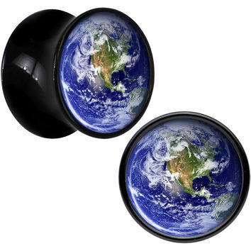 Black Acrylic Vivid Earth Orbit Logo Saddle Plug Set