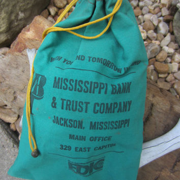 60s Grass Green Canvas Bank Bag // Vintage Mississippi Coin Bag // Bank Tote // Pouch