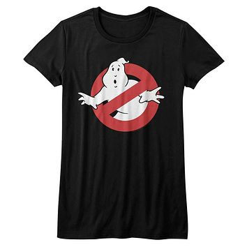 The Real Ghostbusters Juniors T-Shirt No Ghost Sign Black Tee