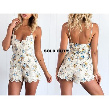 LACE EMBROIDERED FLORAL ROMPER
