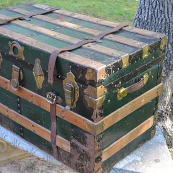Antique Trunk Metal Covered Wood Green Wood Trim Leather Handles Straps Coffee Table PanchosPorch
