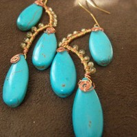 Turquoise rain drops with peridot copper and brass earings | Izkyjewels - Jewelry on ArtFire