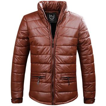 Men's PU Leather Jacket Parka Coat 2017 New Brand Bomber Jackets Casual Solid Winter Jacket Thick Warm Parkas Hombre Invierno
