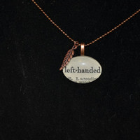 Left handed oval glass tile vintage dictionary necklace, antique copper, feather charm
