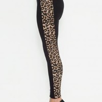 Black Leggings with Leopard Print Panel Sides