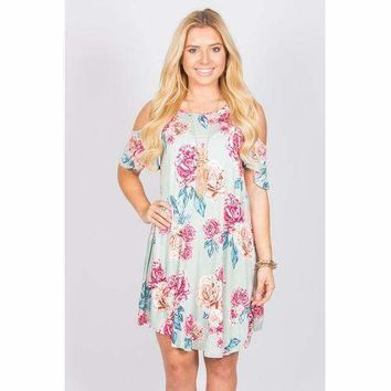 Floral Open Shoulder Tunic - Mint - S
