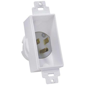 MIDLITE(R) 4642-W Single-Gang Decor Recessed Power Inlet (White)