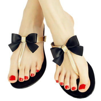 Bowknot Flip Flops Slippers Jelly Shoes Beach   black