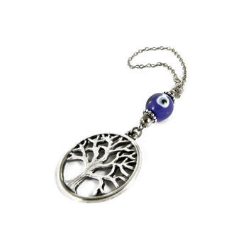 Evil Eye Car Mirror Hanging, Car Rearview Mirror Ornament, Tree of Life Charm, Blue Glass Eye Bead, Car Decoration