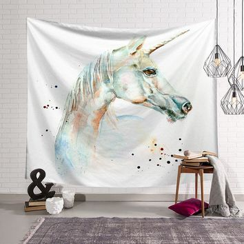 CAMMITEVER Mystery Animal White Unicorn Fantasy Tapestry Wall Hanging Yoga Mat Sandy Beach Towels Picnic Blanket Throw Rug