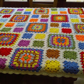 CROCHET Blanket Handmade  Made in Cuddle Blanket   (nannycheryl original)   ID  777
