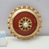 Westminster Sarah Coventry Pin Brooch Vintage Red Enamel Faux Pearl