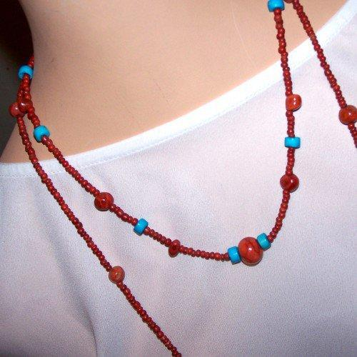 Handmade Red and Blue Seed Bead 2 Strand Necklace   peaceloveandallthingsjewelry - Jewelry on ArtFire