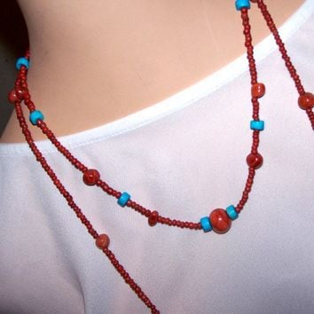 Handmade Red and Blue Seed Bead 2 Strand Necklace | peaceloveandallthingsjewelry - Jewelry on ArtFire