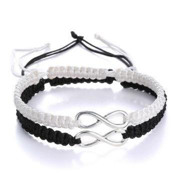 2pcs Infinity Handmade Bracelet Set Friendship Bracelet Set Infinity Love Couples Bracelet Set Infinity Jewelry