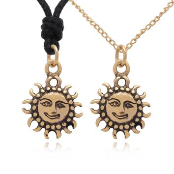Sun 92.5 Sterling Silver Charm Necklace Pendant Jewelry