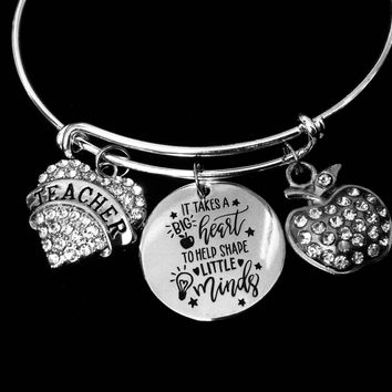 It Take a Big Heart to Shape Little Minds Teacher Jewelry Adjustable Bracelet Expandable Silver Charm Bangle Trendy School One Size Fits All Gift
