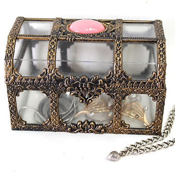 Vintage Jewelry Trinket box Casket Plastic Faux Brass Ornate Top plastic Pink Quartz Bead