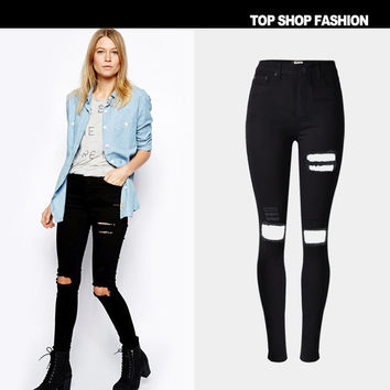 Fashion Ripped Holes High Waist Stretch Slim Rinsed Denim Stylish Plus Size Jeans [6365922052]