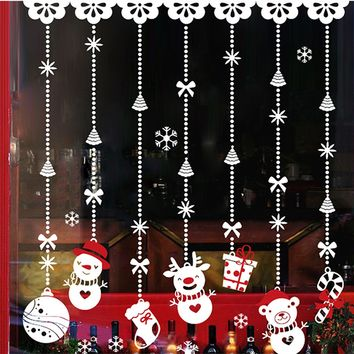 NC PVC Christmas Decoration Hanging Snowman Wall Glass Window Decal Stickers Decor Supplies for Shop Bar Home raamstickers kerst