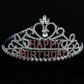 Pink Happy Birthday Crystal Rhinestone Metal Tiara