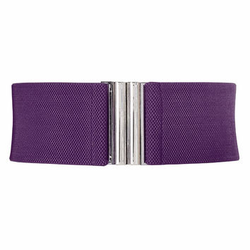 Fashion wide metal hook stretchy elastic waist belt waistband stretchy elastic waist belt waistband belts Silver hook buckle