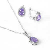 .925 Sterling Silver Rhodium Plated Pear Shaped Created Alexandrite Earring Pendant  Necklace Set: SOD