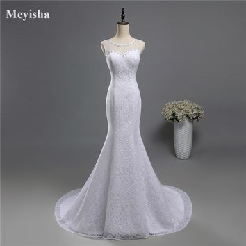 ZJ9141 2016 2017  lace White Ivory Mermaid Fishtail Wedding Dresses for brides plus size maxi formal Customer made with train