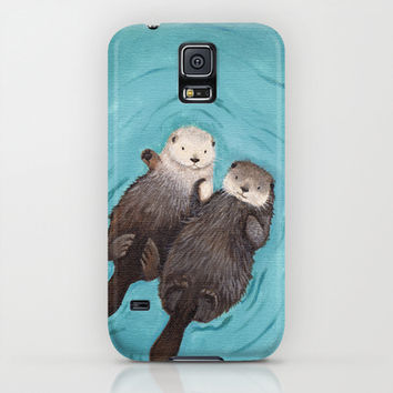 Otterly Romantic - Otters Holding Hands Galaxy S5 Case by When Guinea Pigs Fly