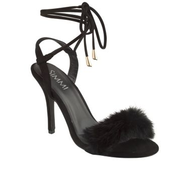 Simmi Shoes: Heels: : Elsa Faux Fur Ankle Tie Heels