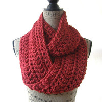 Ready To Ship New Red Handmade Crochet Knit Infinity Scarf Cowl Accessory 109