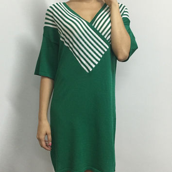 Convertible Collar Low Cut Stripe Wrap Pattern Dress