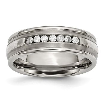 Men's Titanium with Sterling Silver Inlay Polished Diamond Wedding Band Ring