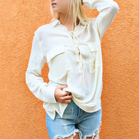 Wicked Affinity Ivory Lace Up Collared Shirt With Pockets