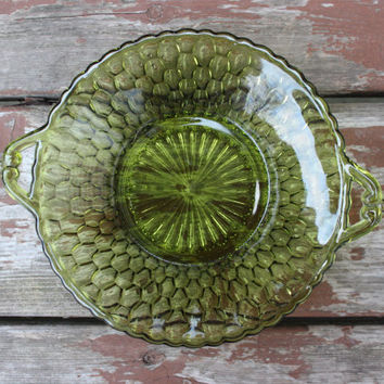 Vintage Indiana Glass Co. Avocado Green Honeycomb Pattern Pressed Glass Dish with Handles - Candy or Jewelry Dish