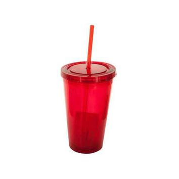 16 oz Clear Red Double Wall Tumbler with Straw ( Case of 12 )