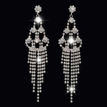 ESBON6V Long paragraph diamond tassel temperament beauty bridal earrings claw chain