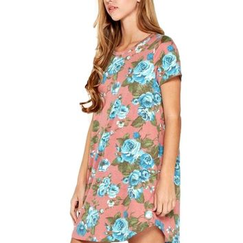 Floral, Short Sleeve T Shirt Dress, Dusty  Rose
