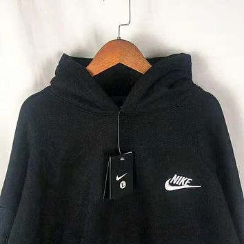 NIKE New fashion bust embroidery letter hook and back letter print couple hooded long sleeve sweater Black